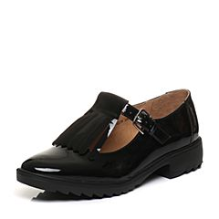 Bata/拔佳2018春专柜同款黑色圆头方跟日系流苏胎牛皮女单鞋AQ278AM8