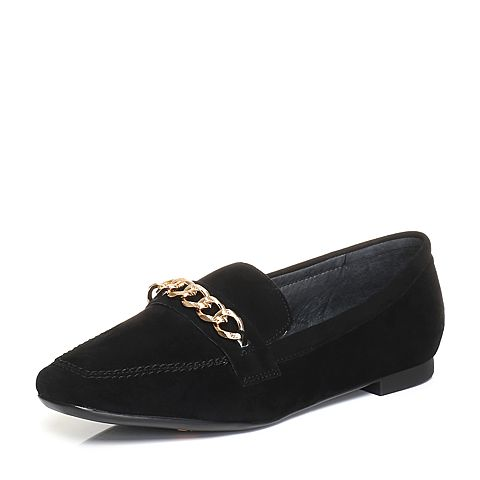 Bata/拔佳2018春专柜同款黑色方头低跟金属环羊绒皮乐福鞋女单鞋AN422AM8