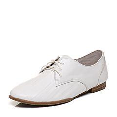 Bata/拔佳2018春专柜同款白色圆头方跟系带休闲牛皮女单鞋AI427AM8