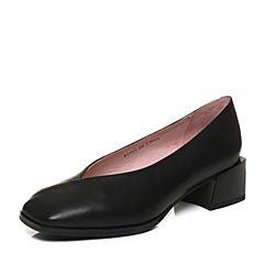 Bata/拔佳2018春专柜同款黑色方头小V口奶奶鞋胎牛皮女单鞋ACN21AM8