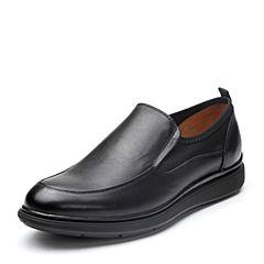 Bata/拔佳2018春专柜同款黑色圆头平跟套脚商务牛皮男单鞋667-2AM8