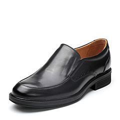 Bata/拔佳2018春专柜同款黑色圆头方跟套脚商务正装牛皮男单鞋10-36AM8