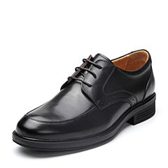 Bata/拔佳2018春专柜同款黑色圆头方跟系带商务休闲牛皮男单鞋10-35AM8