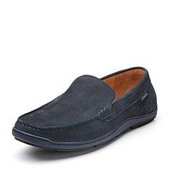 Bata/拔佳2018春专柜同款深蓝色圆头平跟套脚牛皮休闲男单鞋533-1AM8