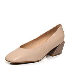 Bata/拔佳2018春专柜同款杏色复古方头粗跟套脚牛皮浅口女单鞋141-2AQ8