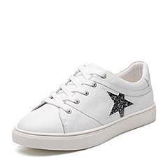 Bata/拔佳2018春专柜同款白色圆头平跟五角星牛皮小白鞋女单鞋856-2AM8