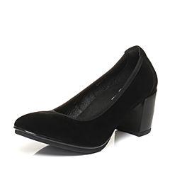 Bata/拔佳2018春专柜同款黑色圆头粗高跟羊绒皮奶奶鞋女单鞋818-2AQ8