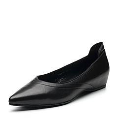 Bata/拔佳2018春专柜同款黑色尖头OL通勤胎牛皮浅口女单鞋936-1AQ8