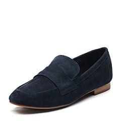 Bata/拔佳2018春专柜同款蓝色圆头方跟套脚羊绒皮乐福鞋女单鞋20-10AM8