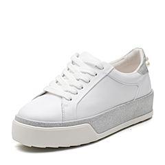 Bata/拔佳2018春专柜同款白色时尚珍珠圆头平跟休闲女单鞋857-1AM8