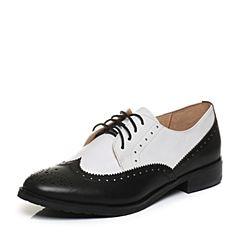 Bata/拔佳2018春专柜同款圆头方跟系带英伦风牛皮女单鞋AQ270AM8