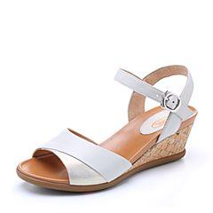 Bata/拔佳2018夏新品专柜同款浅灰色木纹坡跟优雅上班羊皮女凉鞋APJ08BL8