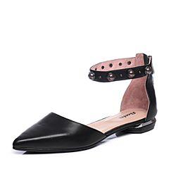 Bata/拔佳2018夏新专柜同款黑色尖头珍珠羊皮革玛丽珍女凉鞋AI364BK8