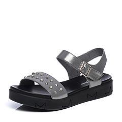 Bata/拔佳2018夏新专柜同款银灰色厚底休闲布纹羊皮革女凉鞋51-16BL8