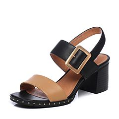 Bata/拔佳2018夏新专柜同款黑色牛皮革时尚拼色粗高跟女凉鞋40-20BL8