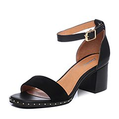 Bata/拔佳2018夏新专柜同款黑色粗高跟OL通勤女凉鞋740-7BL8