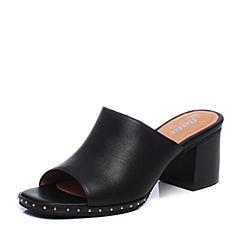 Bata/拔佳2018夏新专柜同款黑色牛皮革粗高跟泳池拖女凉拖鞋40-31BT8