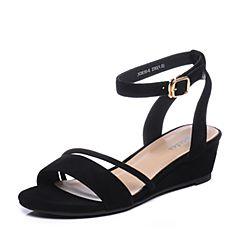 Bata/拔佳2018夏新专柜同款黑色坡跟羊绒皮革女凉鞋636-6BL8