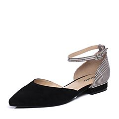 Bata/拔佳2018夏新专柜同款黑/灰色优雅尖头格子OL通勤女凉鞋373-2BK8