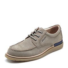 Bata/拔佳2018秋新款专柜同款灰色牛皮革舒适休闲平底男单鞋81502CM8