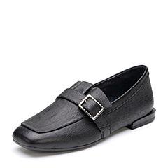 Bata/拔佳2018秋新专柜同款黑色方头低跟羊皮革乐福女单鞋ABM28CM8