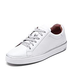 Bata/拔佳2018秋新专柜同款白色休闲平跟牛皮革女单鞋小白鞋ACX20CM8