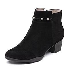 Bata/拔佳2018秋新款专柜同款黑色羊绒皮革粗中跟及踝靴女短靴223-5CD8