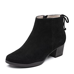 Bata/拔佳2018秋新款专柜同款黑色羊绒皮革粗中跟及踝靴女短靴23-17CD8