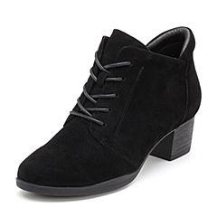 Bata/拔佳2018秋新款专柜同款黑色羊绒皮革简约粗中跟女短靴58-58CD8