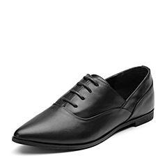 Bata/拔佳2018秋新专柜同款黑色尖头低跟OL通勤牛皮革女单鞋802-6CM8