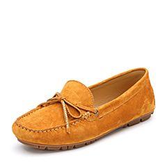 Bata/拔佳2018秋新专柜同款驼色圆头平跟羊绒皮革乐福女单鞋18-81CM8