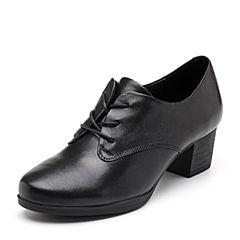 Bata/拔佳2018秋新款专柜同款黑色羊皮革粗中跟简约通勤女单鞋658-1CM8