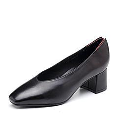Bata/拔佳2018秋新款专柜同款黑色羊皮革浅口方头粗跟奶奶鞋女单鞋435-1CQ8