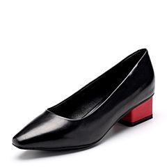 Bata/拔佳2018秋新款专柜同款黑色胎牛皮革粗中跟浅口女单鞋78A-1CQ8
