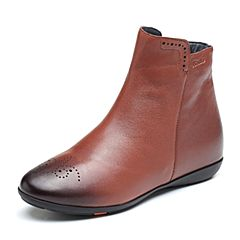 Bata/拔佳2018冬新款专柜同款棕色绵羊皮革平底女皮靴短靴AM846DD8