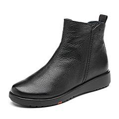 Bata/拔佳2018冬新款专柜同款黑色羊皮革舒适坡跟及踝靴女短靴AV547DD8