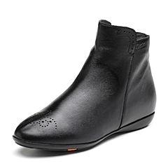 Bata/拔佳2018冬新款专柜同款黑色绵羊皮革平底女皮靴短靴AM846DD8