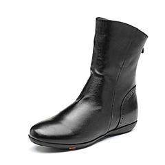 Bata/拔佳2018冬新款专柜同款黑色绵羊皮革休闲简约平底女中靴AM850DZ8