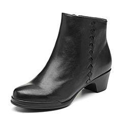 Bata/拔佳2018冬新款专柜同款黑色简约菱格中粗跟羊皮革女短靴AV470DD8