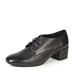 Bata/拔佳2018新款黑色羊皮革方头粗中跟简约女单鞋TSY08CM8