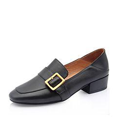 Bata/拔佳2018秋新款黑色牛皮革皮带扣通勤女皮鞋单鞋TSY27CM8