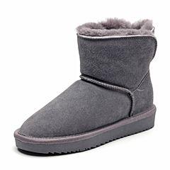 Bata/拔佳2018冬新款专柜同款深灰色牛剖层革女靴雪地靴毛里358-3DD8