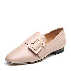 Bata/拔佳2019春新款专柜同款羊皮革乐福鞋低跟女单鞋ACU22AM9