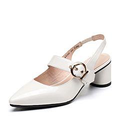 Bata/拔佳2019春新款专柜同款漆皮牛皮革玛丽珍女凉鞋AEJ02AH9