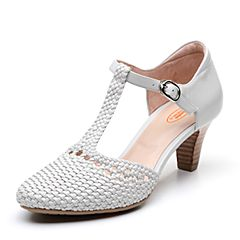 Bata/拔佳2019春新款专柜同款时尚编织玛丽珍高跟女凉鞋AD311AK9