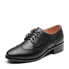 Bata/拔佳2019春新款黑色英伦雕花羊皮革女皮鞋单鞋A5091AM9