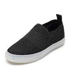 Bata/拔佳2019春新款黑色水钻舒适平底套脚单鞋女休闲鞋5715DAM9