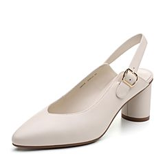 Bata/拔佳2019春新款优雅尖头羊皮革粗高跟后空女凉鞋18215AH9