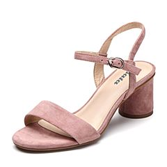 Bata/拔佳2019?#30007;?#27454;专柜同款羊绒皮革粗高跟优雅女凉鞋19891BL9