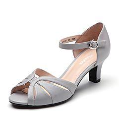 Bata/拔佳2019?#30007;?#27454;专柜同款羊皮革一字带高跟女凉鞋ABS03BL9